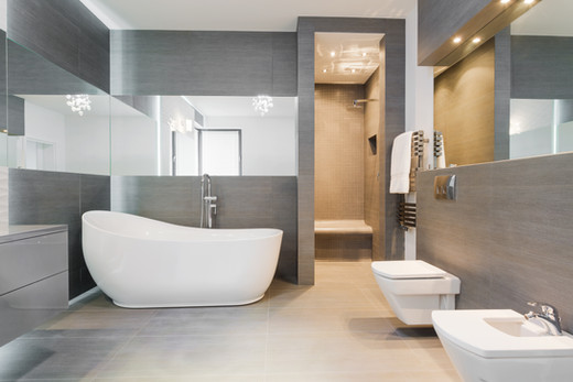 A concrete designed bathroom