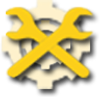 Two, yellow wrenches over a gear