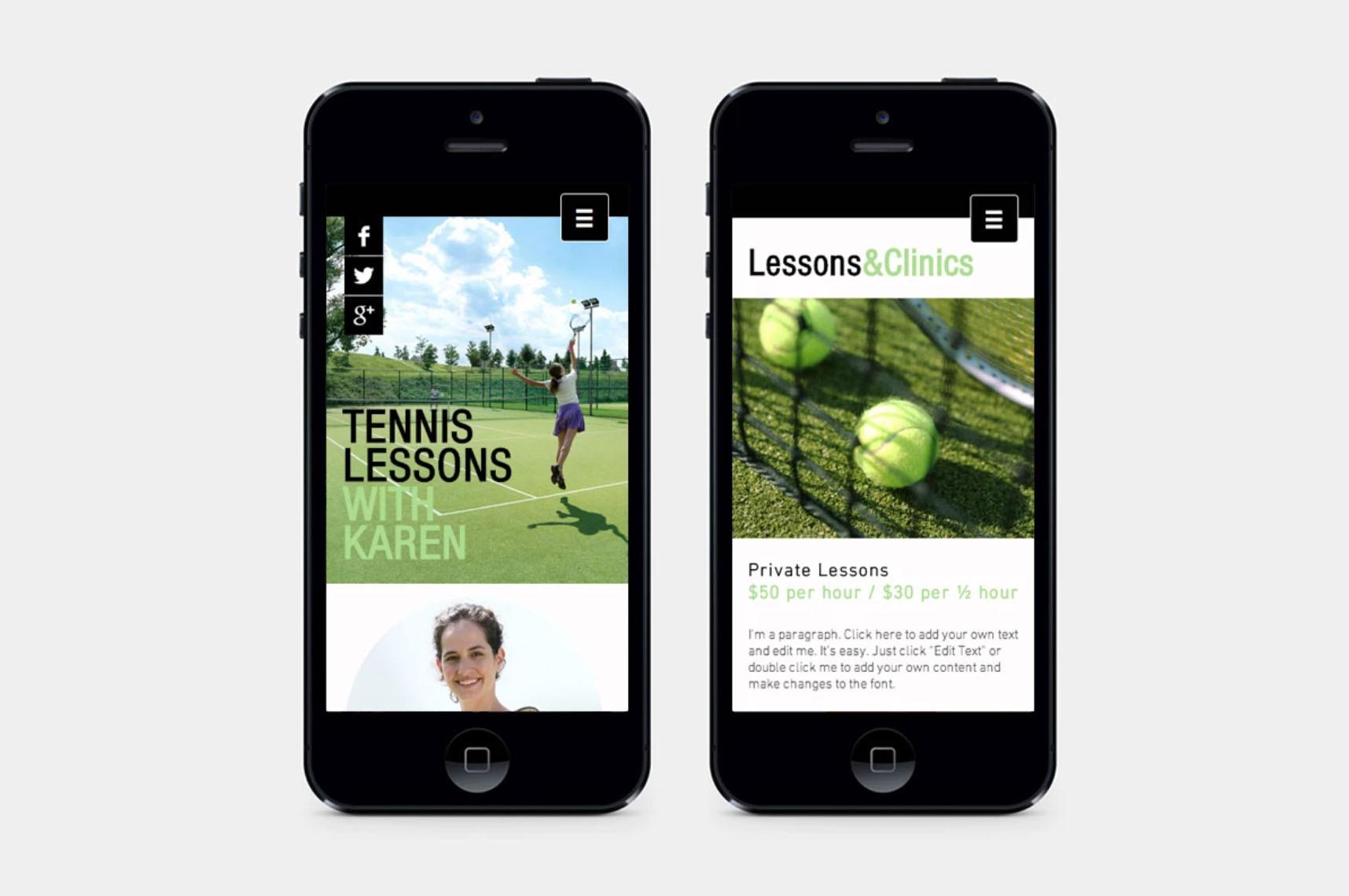 Tennis mobile wesite