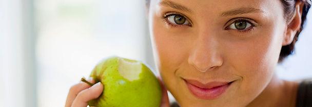 Lady wih an apple