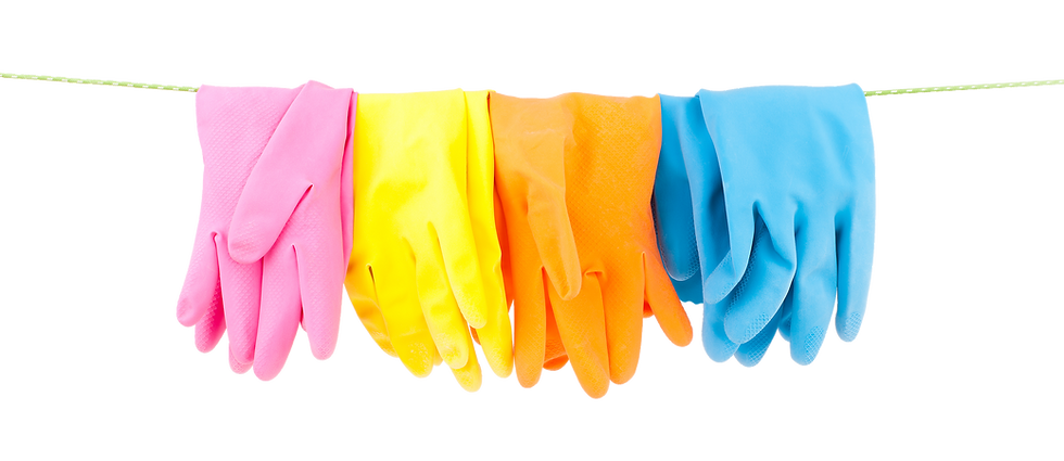 Several colorful gloves hang on a line. Superior Commercial Cleaning provides janitorail sanitation services.