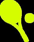 raquete e bola de tênis na cor amarela