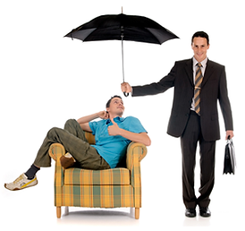 Man holding umbrella over another man in chair