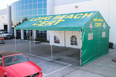 20x20 gable end frame tent with side walls and windows Long Beach Cert