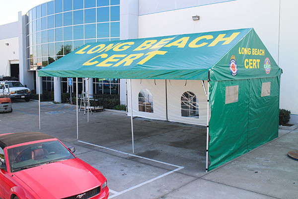 Custom gable roof tent Long Beach Cert