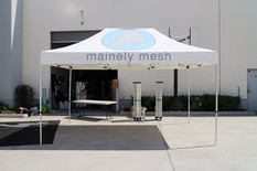 10x15 Custom pop up canopy tent with company logo Mainely Mesh