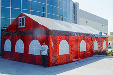 20x40 custom gable frame tents with printed walls