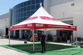 20x20 commercial high peak tents with company logo Berard