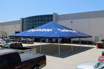 40x40 commercial grade frame tent with company logo Deloitte