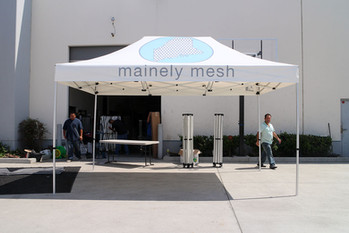 10x15 Custom printed pop up event tent with company logo Mainely Mesh