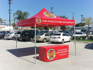 10x10 custom printed canopy and table cover Los Angeles fire department
