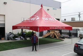 20x20 Custom printed high peak tent with business logo Noh Foods