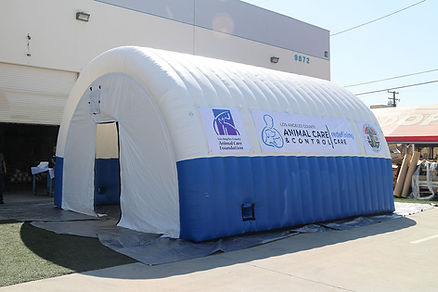 Custom inflatable tunnel tent for Los Angeles County Animal Care