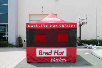 10x10 food vendor tent with mesh Bred Hot Chicken