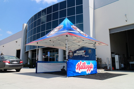 12x12 branded parasol pop up canopy tent Kellogg's with printed soccer ball