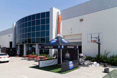 10x10 custom printed pop up canopy with inflatable Nasa rocket