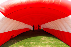 Giant inflatable sports entrance tunnel at Los Angeles Coliseum