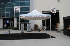10x10 custom printed pop up canopy with advertising flags White Glove