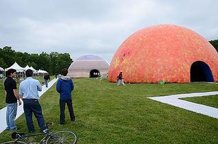 Custom inflatable NASA Domes at an exhibition.