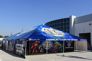 Large commercial grade frame tents with graphics