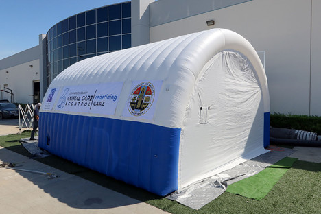 Custom inflatable tunnel tent for Los Angeles Animal Care