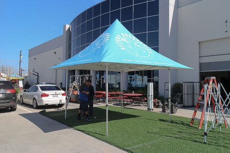 12x12 custom parasol pop tent with logos Beyond Boundaries