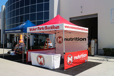 10x10 Display tent and table cover with company logo M Nutrition