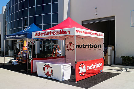 10x10 Branded pop up canopy with table cover M Nutrition