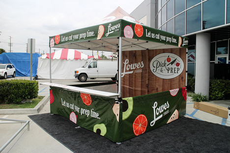 10x10 custom pop up food tent with countertop and company logos Lowes