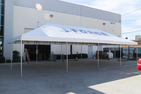 20x40 commercial grade frame tent with business logo Force