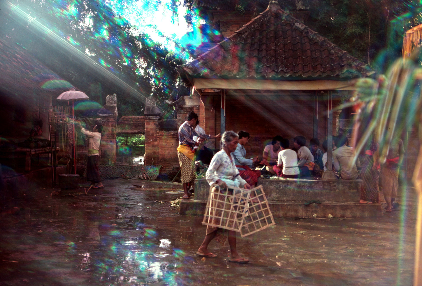 Temple ceremony after rain shower