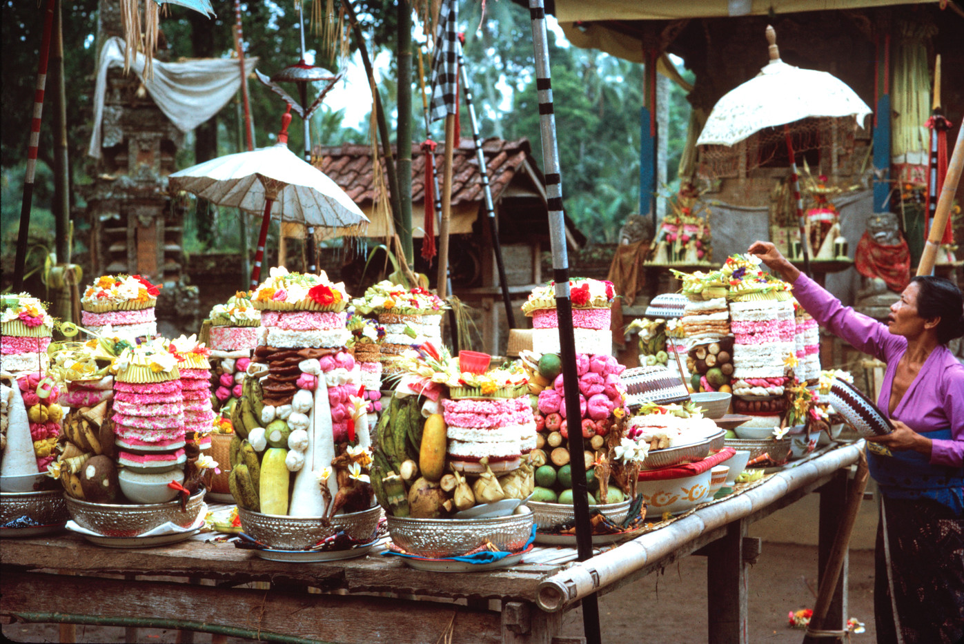 Temple offerings laid out