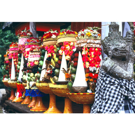 Voluntary offerings lined up in temple.j