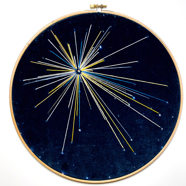 Space Craft - Cygnus Study no.4 Embroidery on printed velvet 30/30cm £150
