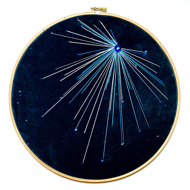 Space Craft - Draco Study no.3 Embroidery on printed velvet 30/30cm £150