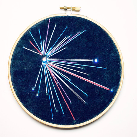 Small Sky Study no.6 Embroidery on printed velvet 12/12cm £40
