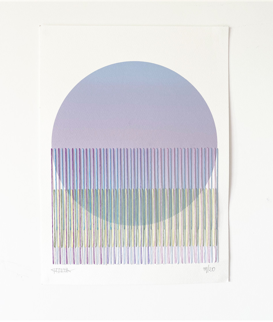 Starlight Threads - Deneb Embroidery on Digital Print 300gsm Cold Pressed Watercolour Paper 28/38 cm