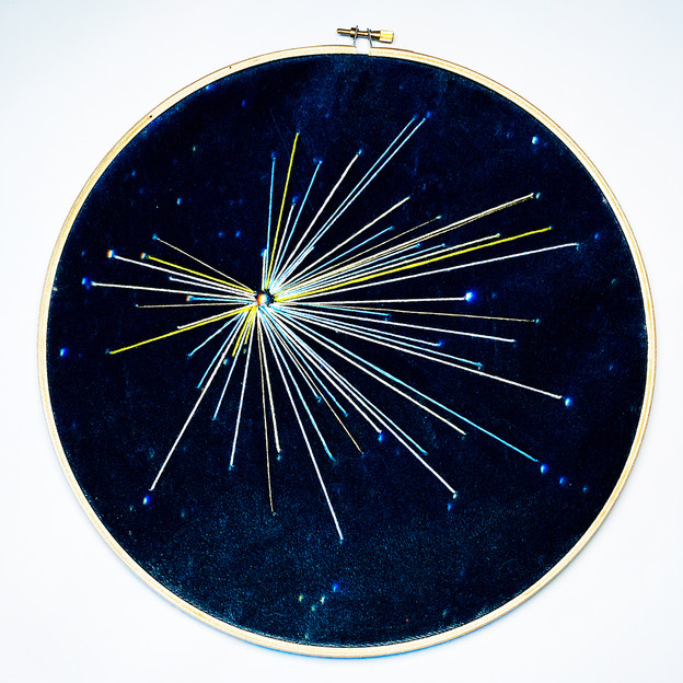 Space Craft - Hercules study no.2 Embroidery on printed velvet 30/30cm £150