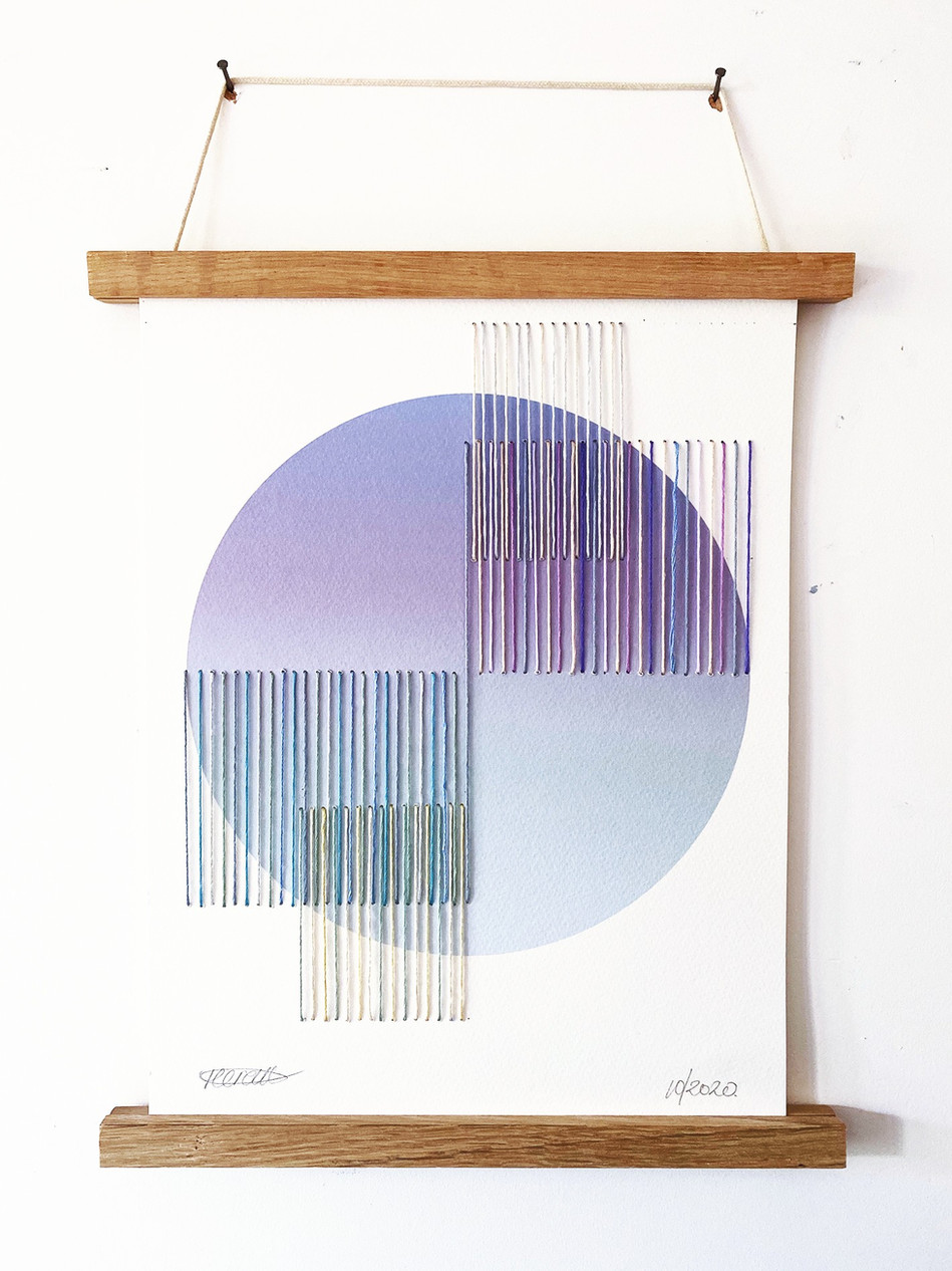 Starlight Threads - Deneb no.2 Digital Print and Embroidery Cold Pressed Watercolour Paper 300gsm 28/38cm
