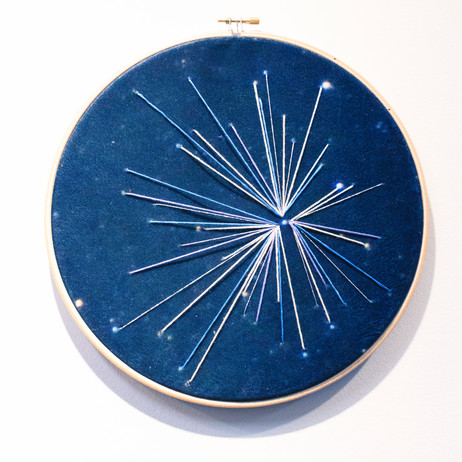 Deneb study in Purple Embroidery on printed velvet 25/25cm  £120