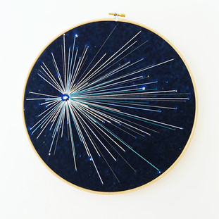 Space Craft - Lyra Study no.2 Embroidery on printed velvet 30/30cm		 £150