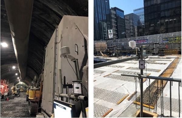 (左)トンネル坑内温度管理 (右)コンクリート打設個所気温・コンクリート表面温度管理