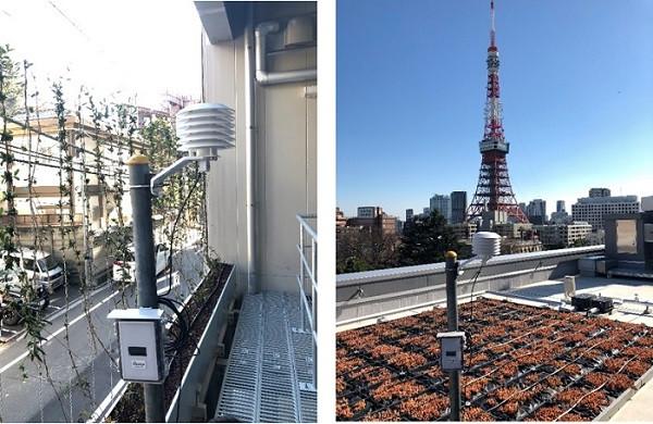 (左)壁面緑化外気温・基材温度管理 (右)屋上緑化外気温・基材温度管理