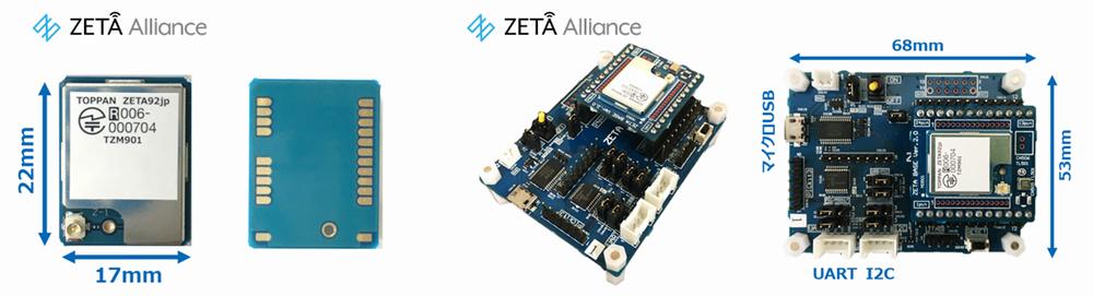 (左)ZETA通信モジュール「TZM901」  (右)ZETA通信モジュール評価ボード