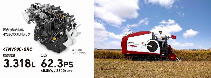 左:大排気量・高出力コモンレールエンジン/右:YH462A稲刈り作業イメージ