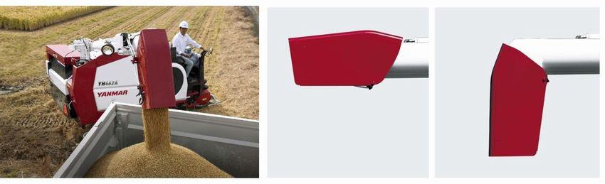 左:籾の排出イメージ/右:籾の排出方向を調整できるオーガシューター