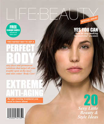 "A magazine cover featuring a slim white woman with short dark hair who is naked from the upper chest upwards. Around the image is the title ""Life.Beauty"" and a number of headlines focusing on beauty and style."