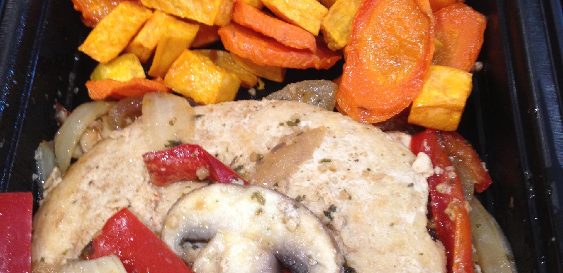 Chicken Burger w/ Mixed Veg