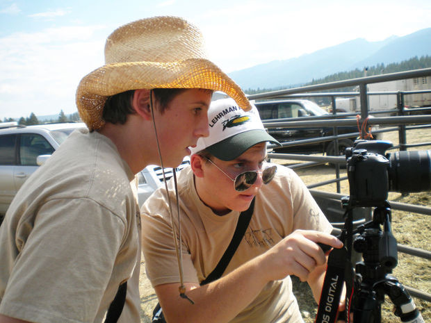 MAPS Media Institute after school program created promotional videos of Darby's Logger Days and the Bull O'Rama for the Montana Film Office. Wyatt Campbell (Darby High School) and Caleb Hallahan (home school student - now a MAPS teaching assistant) line up a shot.