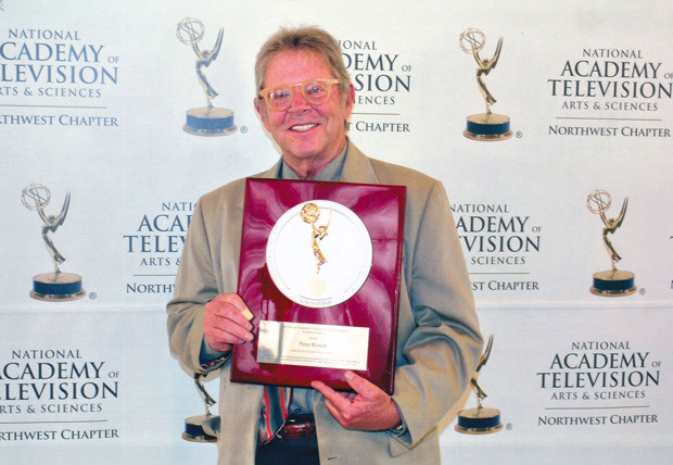 """MAPS Media Institute CEO and founder Peter Rosten holds his award during his induction into The National Academy of Television Arts and Sciences, Northwest Chapter's """"Silver Circle"""" in Seattle, June 3rd"""